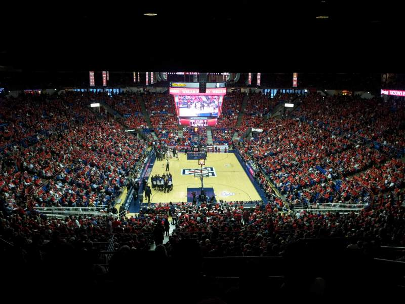 Seating view for McKale Center Section UP 121 Row 38 Seat 16