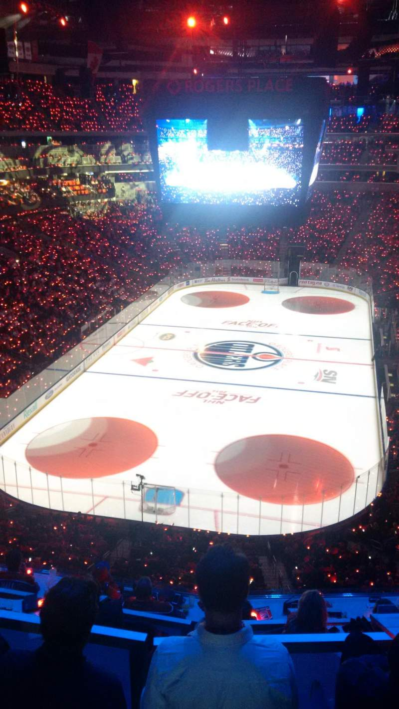 Seating view for Rogers Place Section 210 Row 1 Seat 8
