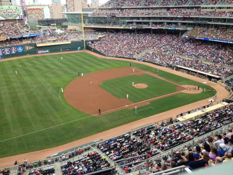 Seating view for Target Field Section 324 Row 1 Seat 1