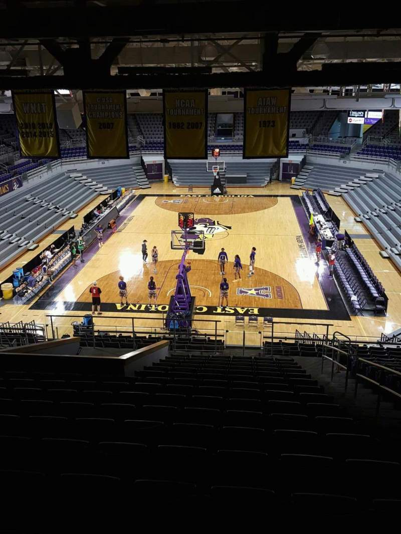 Seating view for Williams Arena at Minges Coliseum Section 211 Row V Seat 1