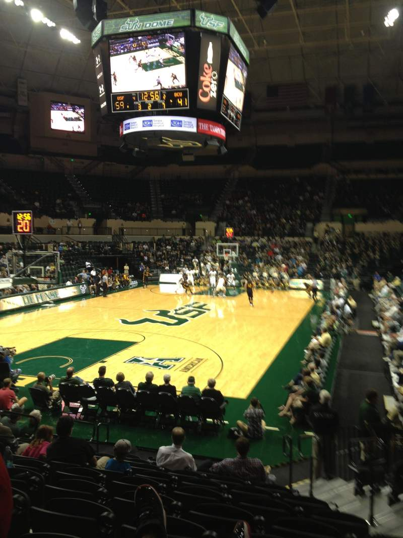 Seating view for USF Sun Dome Section 108 Row E Seat 5, 6, 7, 8