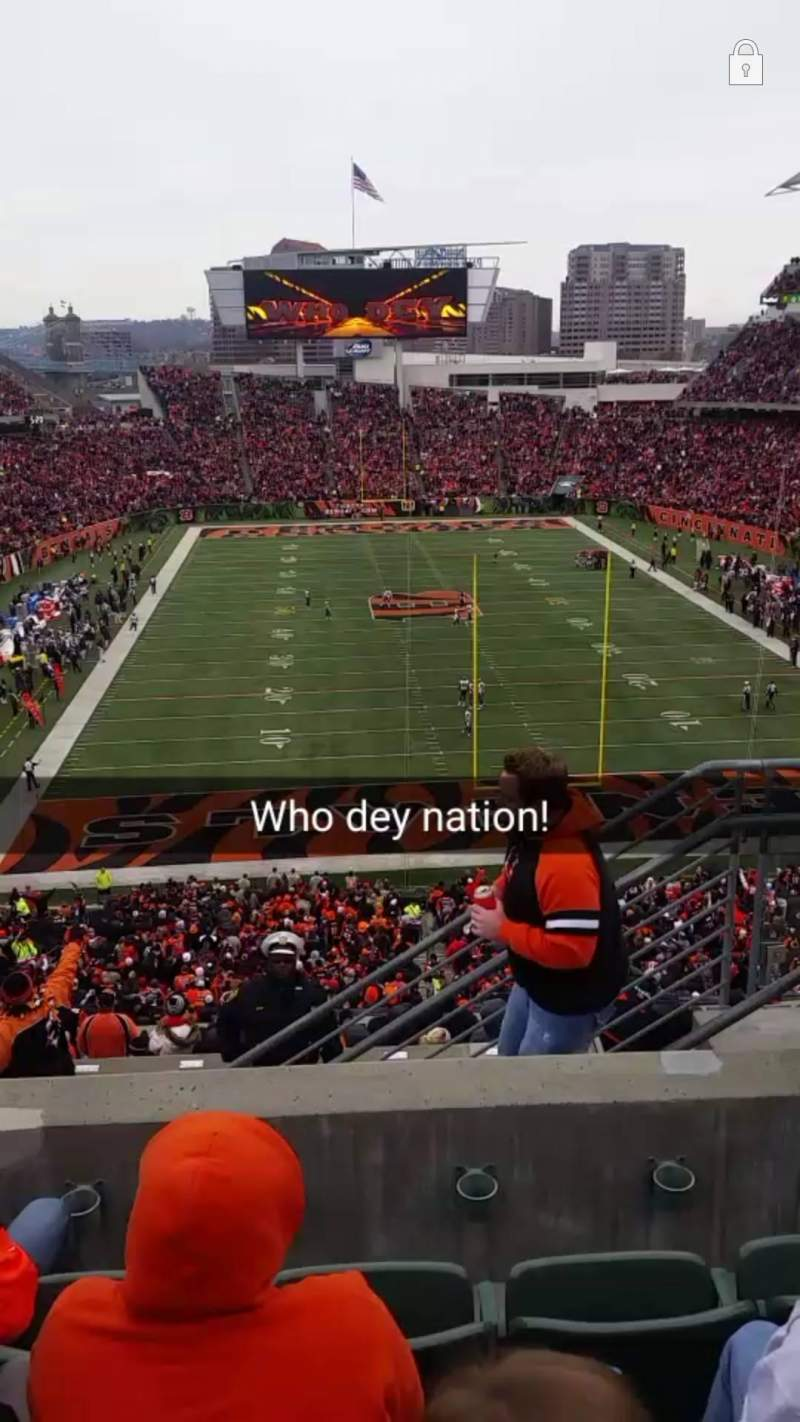 Seating view for Paul Brown Stadium Section 228 Row 16 Seat 4