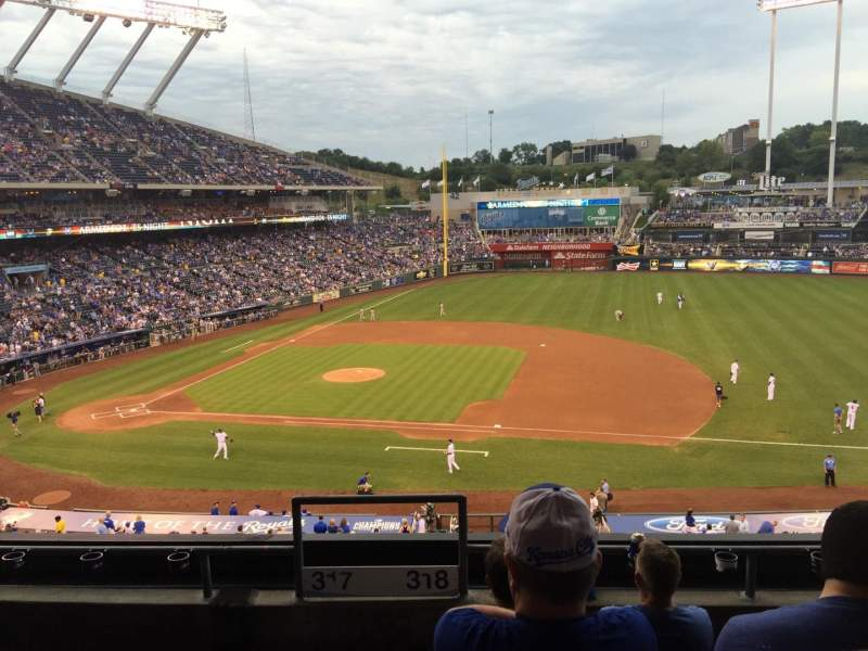 Seating view for Kauffman Stadium Section 318 Row E Seat 1