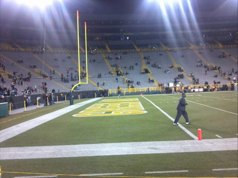 Seating view for Lambeau Field Section 110 Row 1 Seat 1