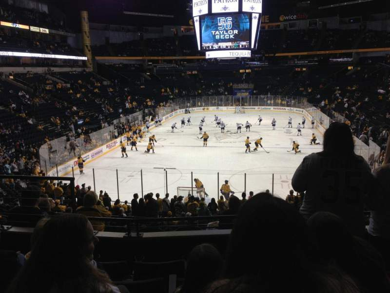 Seating view for Bridgestone Arena Section 101 Row M Seat 8