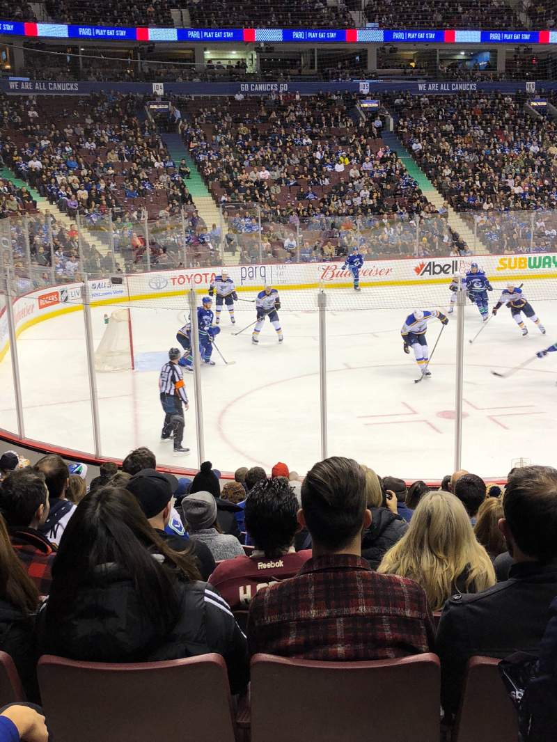 Seating view for Rogers Arena Section 119 Row 12 Seat 105