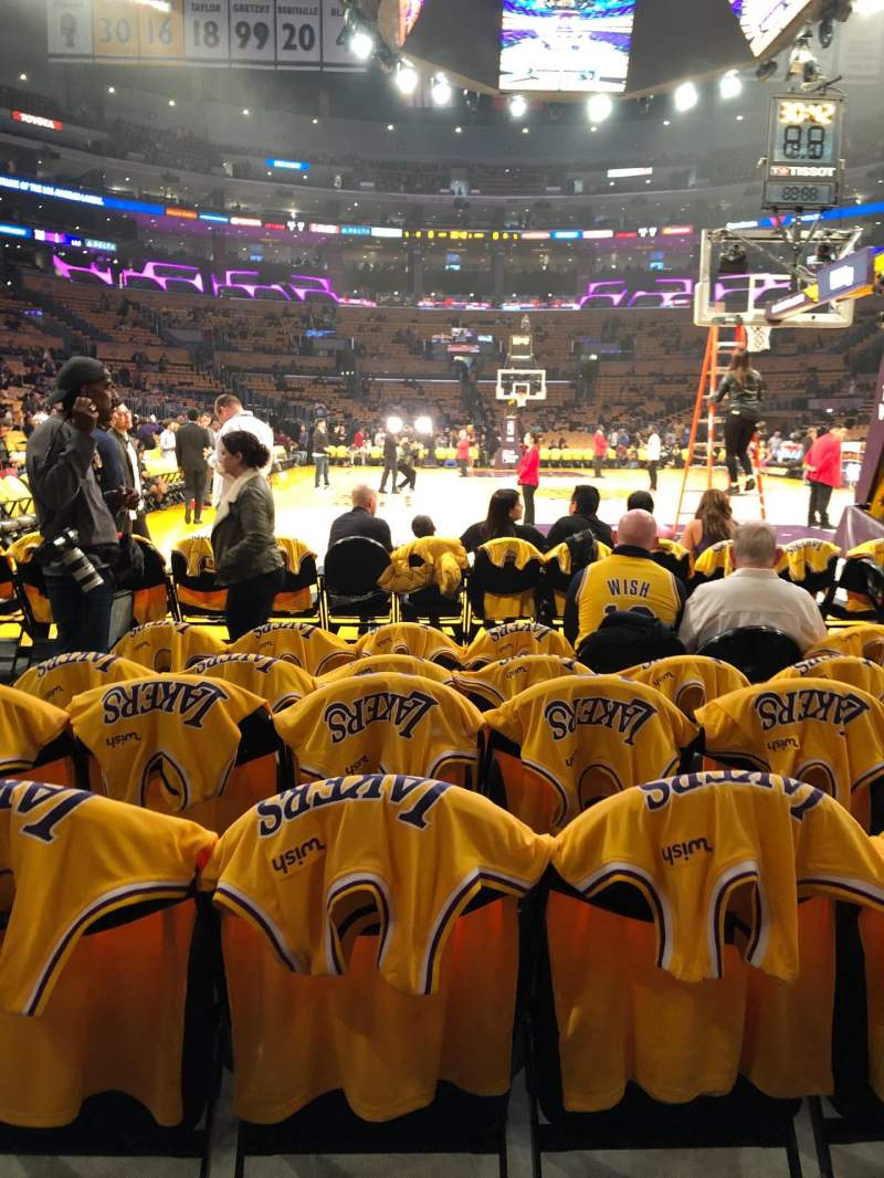 Seating view for Staples Center Section 107 Row F Seat 8,9