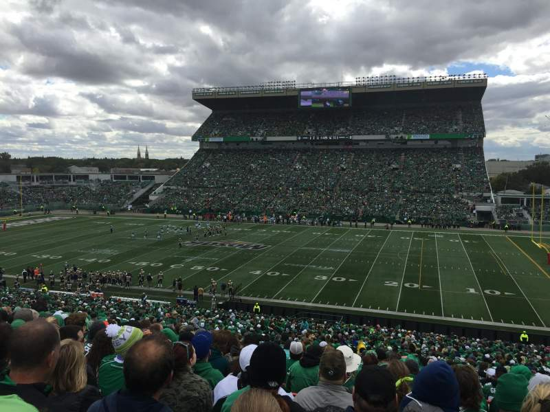 Seating view for Mosaic Stadium Section 23 Row 49 Seat 21
