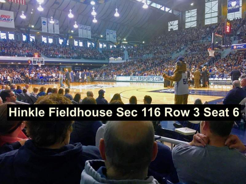 Seating view for Hinkle Fieldhouse Section 116 Row 3 Seat 6