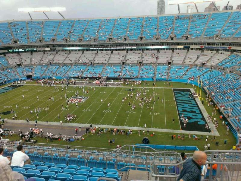 Seating view for Bank of America Stadium Section 539 Row 19 Seat 3