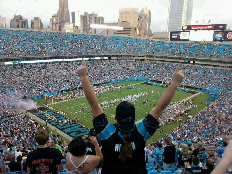 Seating view for Bank of America Stadium Section 550 Row 19 Seat 20