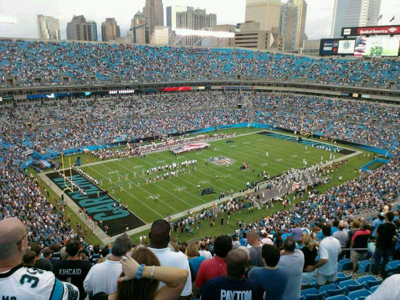 Seating view for Bank of America Stadium Section 548 Row 21 Seat 12