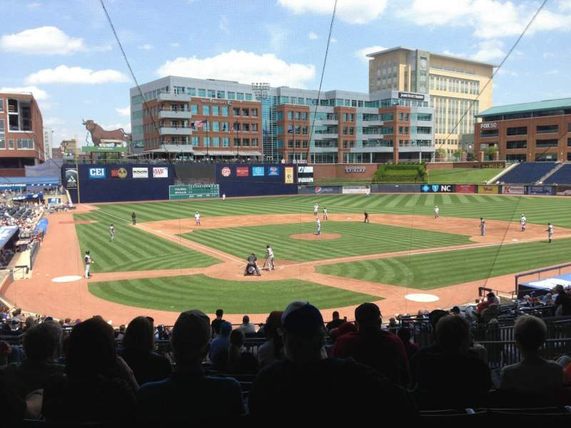 Seating view for Durham Bulls Athletic Park Section 202 Row V Seat 11