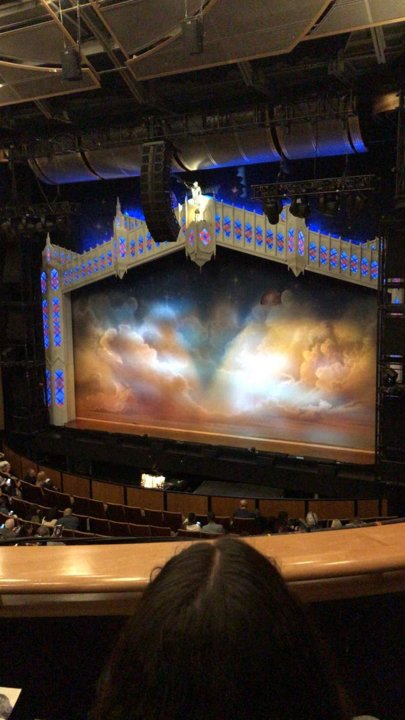 Seating view for Ahmanson Theatre Section Mezzanine Row B Seat 5
