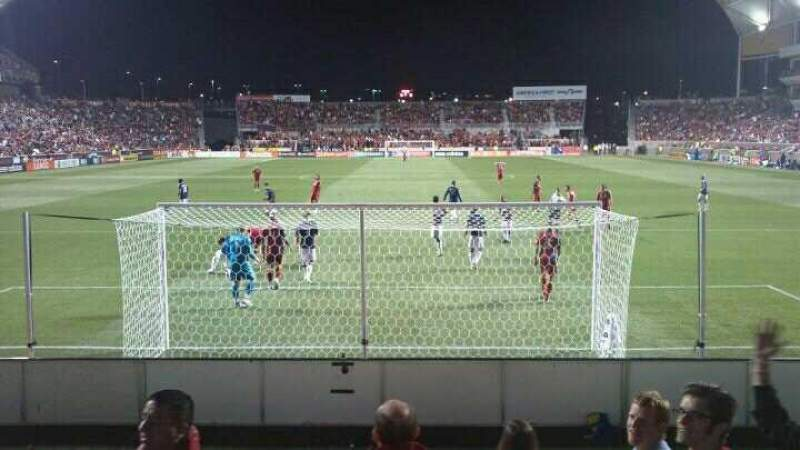 Seating view for Rio Tinto Stadium Section 28 Row F Seat 24 and 25