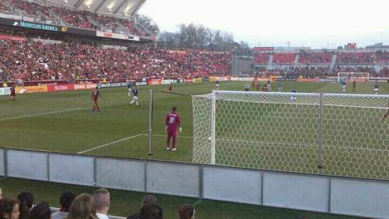 Seating view for Rio Tinto Stadium Section 28 Row F Seat 23 and 24