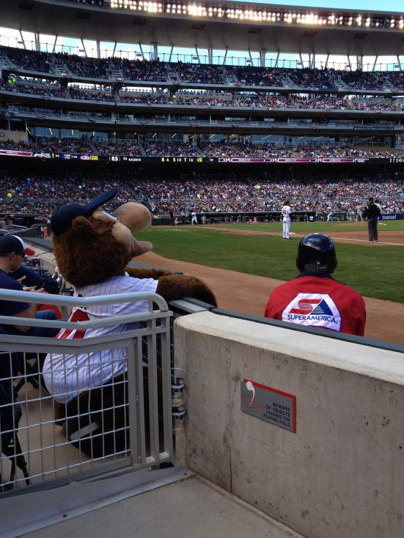 Seating view for Target Field Section 104 Row 2 Seat 3