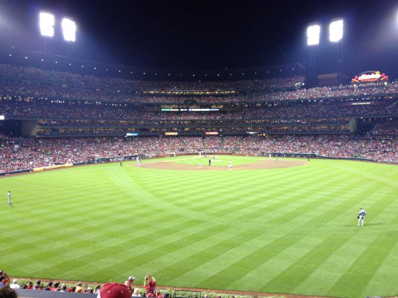 Seating view for Busch Stadium Section Coca-Cola Scoreboard Patio Row 5 Seat 5