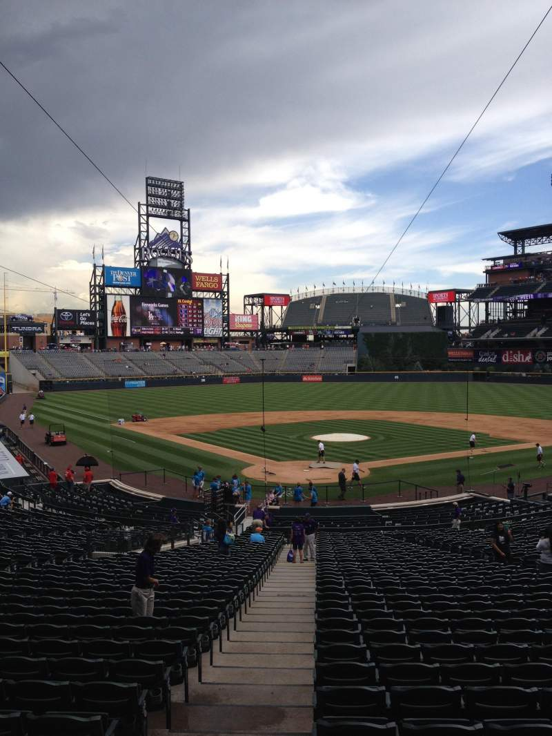 Seating view for Coors Field Section 130 Row 38 Seat 1