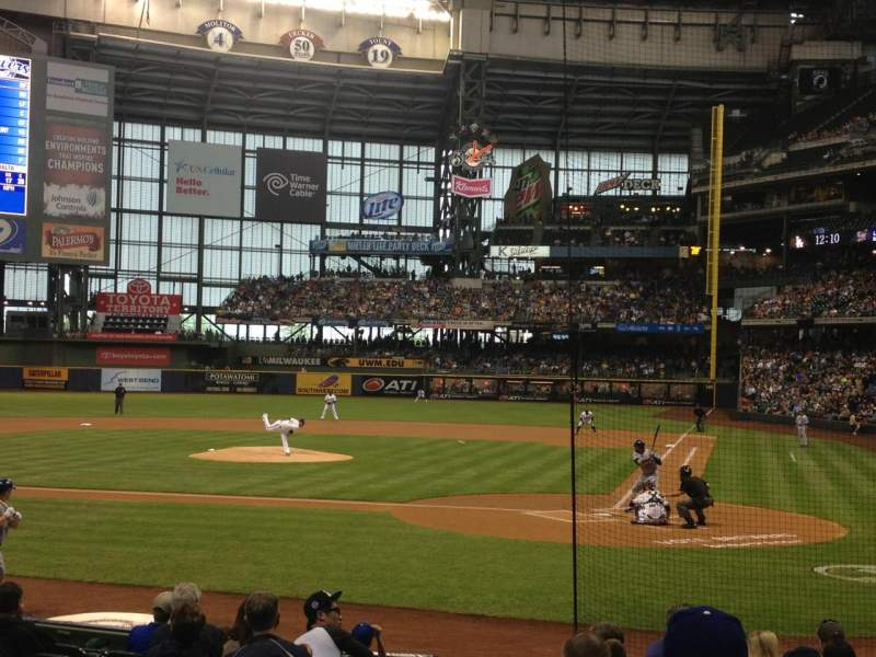 Seating view for Miller Park Section 119 Row 13 Seat 19