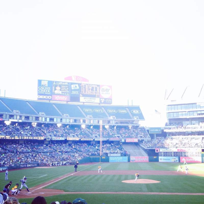 Seating view for Oakland Alameda Coliseum Section 114 Row 17 Seat 1