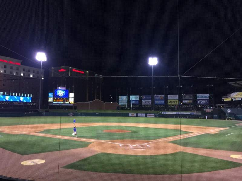 Seating view for Chickasaw Bricktown Ballpark Section 109 Row P Seat 1