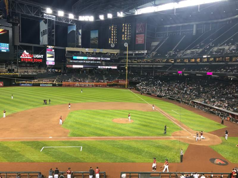 Seating view for Chase Field Section 211 Row 2 Seat 27