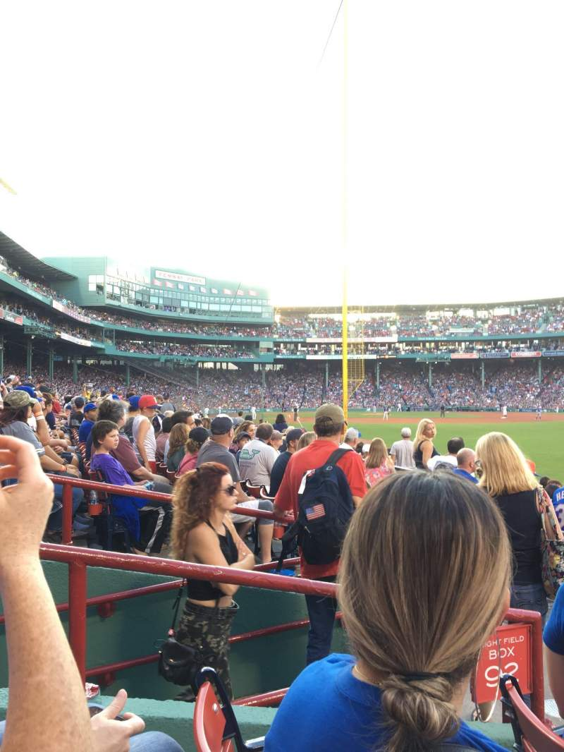 Seating view for Fenway Park Section Right Field Box 92 Row GG Seat 12