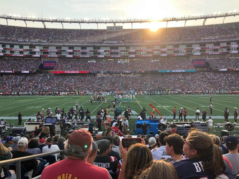 Seating view for Gillette Stadium Section 109 Row 13 Seat 20