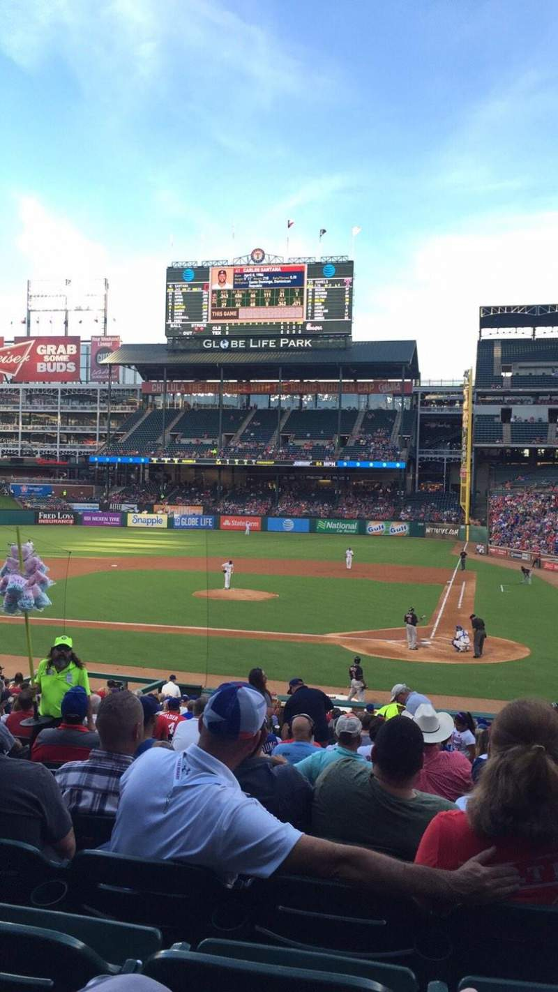Seating view for Globe Life Park in Arlington Section 22 Row 25 Seat 7