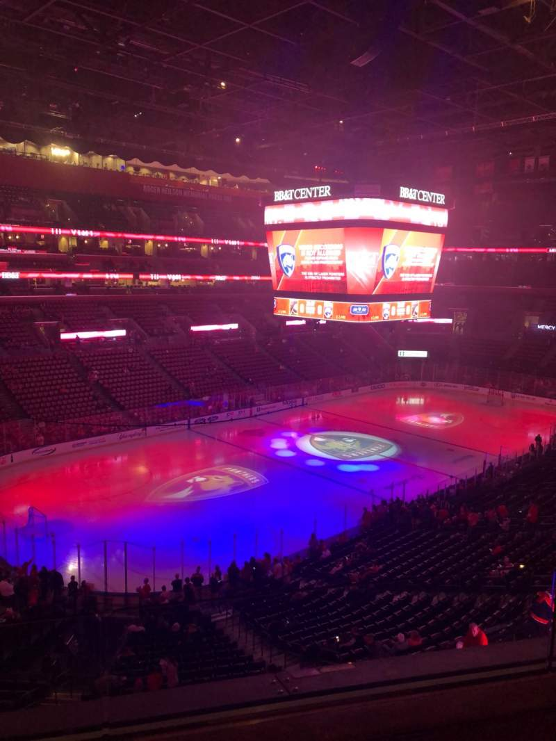 Seating view for BB&T Center Section Cl05 Row 2 Seat 12