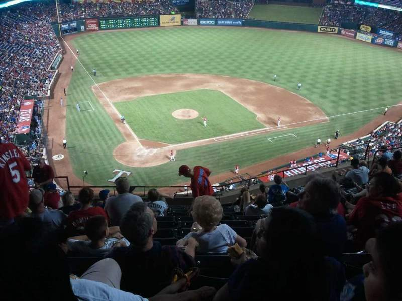Seating view for Globe Life Park in Arlington Section 329 Row 12 Seat 5