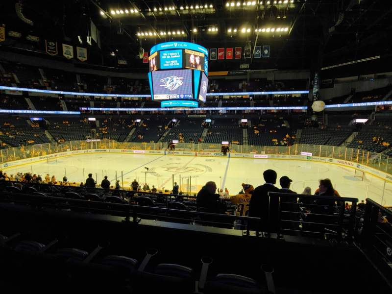 Seating view for Bridgestone Arena Section 106 Row L Seat 1