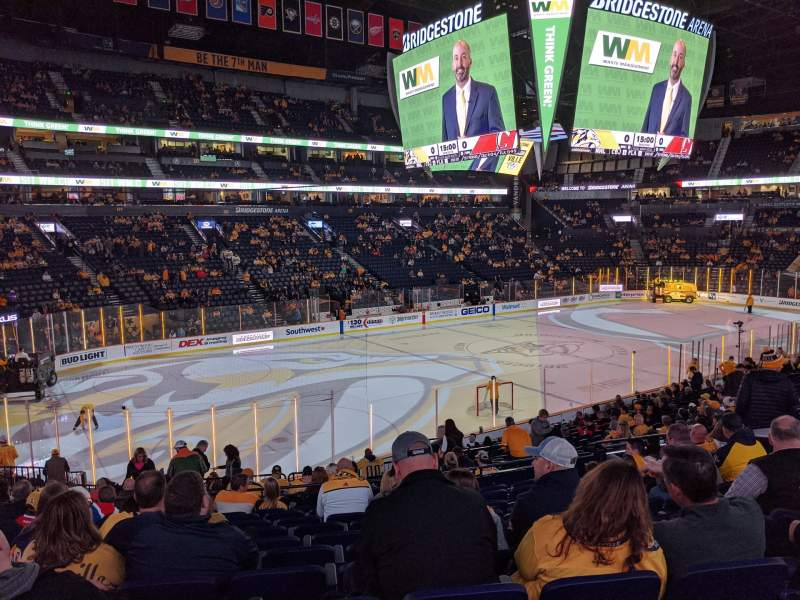 Seating view for Bridgestone Arena Section 103 Row L Seat 9