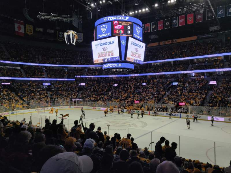 Seating view for Bridgestone Arena Section 107 Row F Seat 11