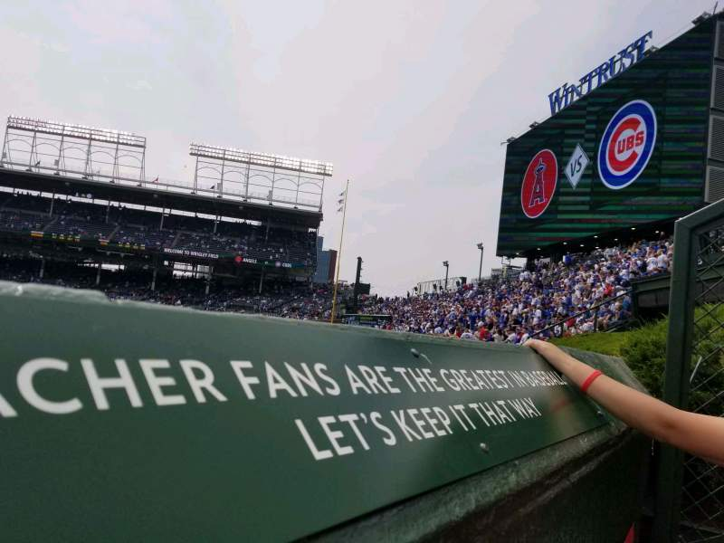 Seating view for Wrigley Field Section bleachers Row A Seat 1