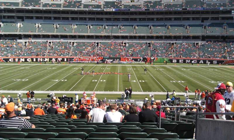 Seating view for Paul Brown Stadium Section 110 Row 30 Seat 4