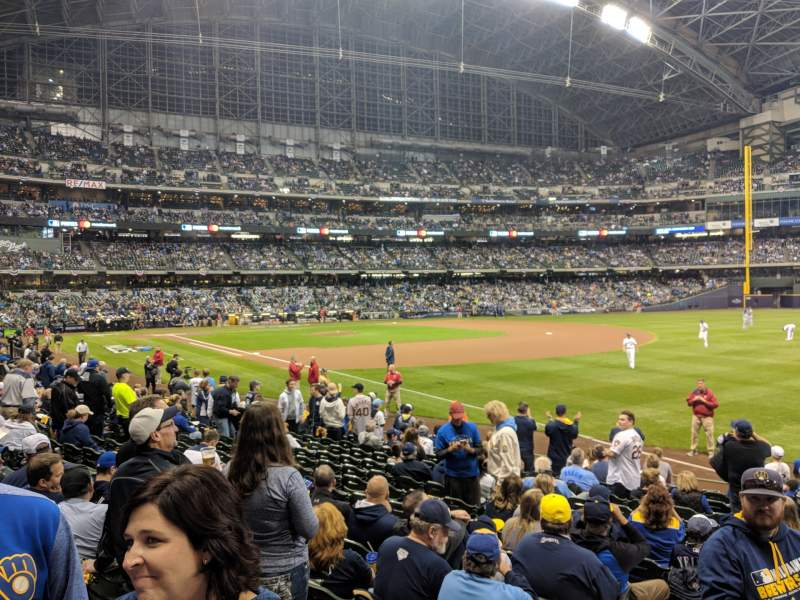 Seating view for Miller park Section 108 Row 15 Seat 2