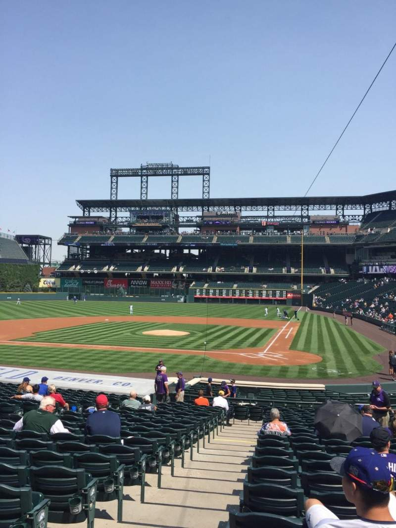 Seating view for Coors Field Section 134 Row 25 Seat 10