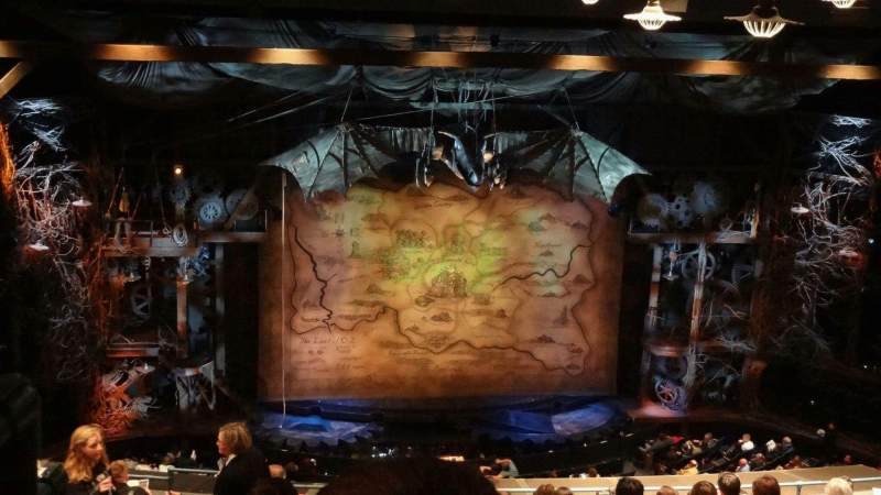 Seating view for Gershwin Theatre Section Rear Mezzanine Row L Seat 101