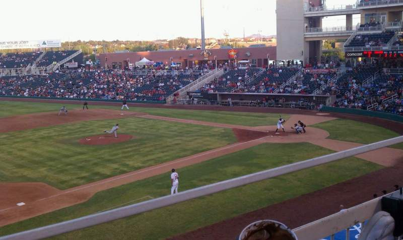 Seating view for Isotopes Park Section 201 Row A Seat 17