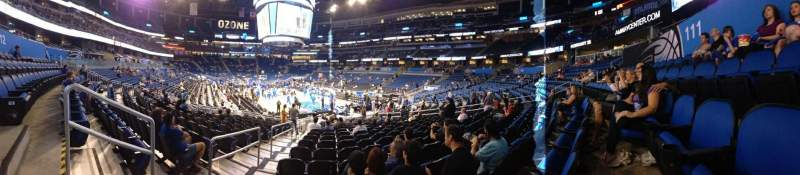 Seating view for Amway Center Section Terrace End 111 Row 16 Seat 20