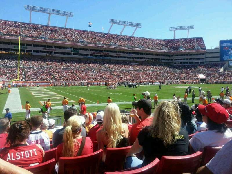 Seating view for Raymond James Stadium Section 106 Row H Seat 15