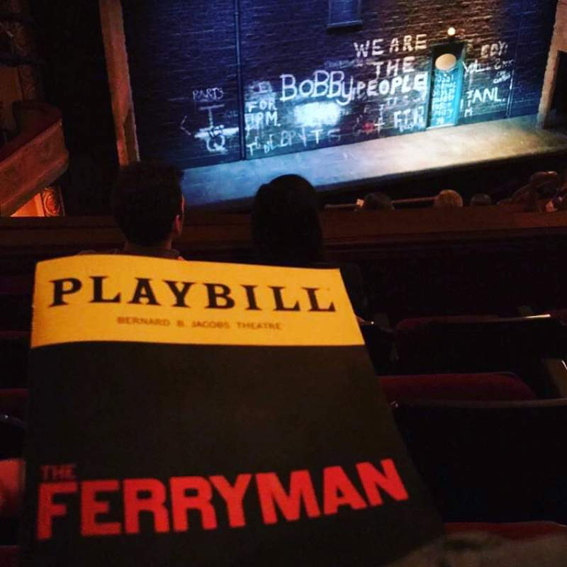 Seating view for Bernard B. Jacobs Theatre Section Mezzanine L Row H Seat 13