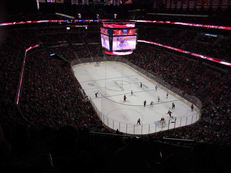 Seating view for Capital One Arena Section 406 Row K Seat 17 9b356f56e864