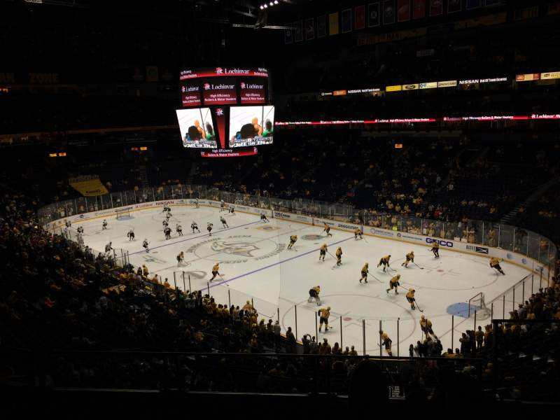 Seating view for Bridgestone Arena Section 220 Row G Seat 1