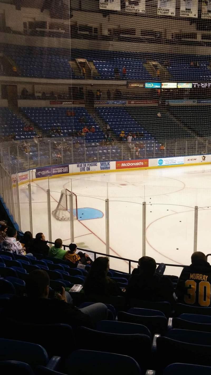 Seating view for Mohegan Sun Arena at Casey Plaza Section 108 Row M Seat 1