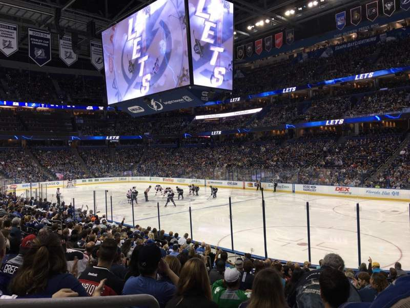 Seating view for Amalie Arena Section 128 Row R Seat 11