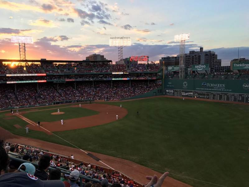 Seating view for Fenway Park Section Right Field Roof Box 29 Row G Seat 1
