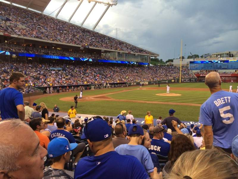 Seating view for Kauffman Stadium Section 138 Row R Seat 1